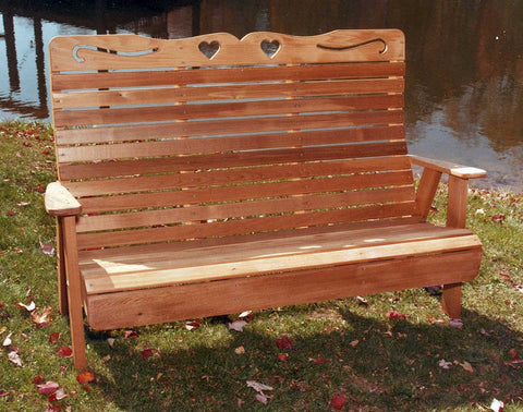 Country Hearts Garden Bench - Red Cedar - Creekvine Designs - 4ft, 5ft, 6ft
