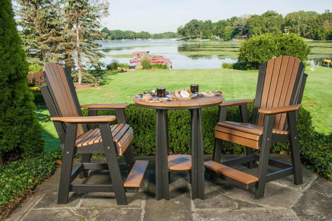 Luxcraft Poly Adirondack Balcony Chair and Table Set Counter Height - Cedar on Black
