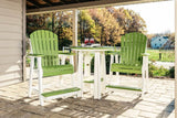 Poly Adirondack Chair and Table Set Lime Green on White