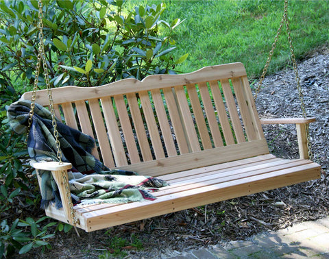 countryside red cedar wooden porch swing creekvine designs 2ft 4ft 5ft - Wooden Porch Swings