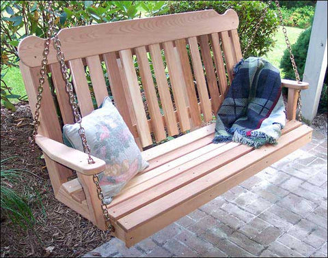 Classic Red Cedar Porch Swing - Creekvine Designs - 2ft, 4ft, 5ft, 6ft