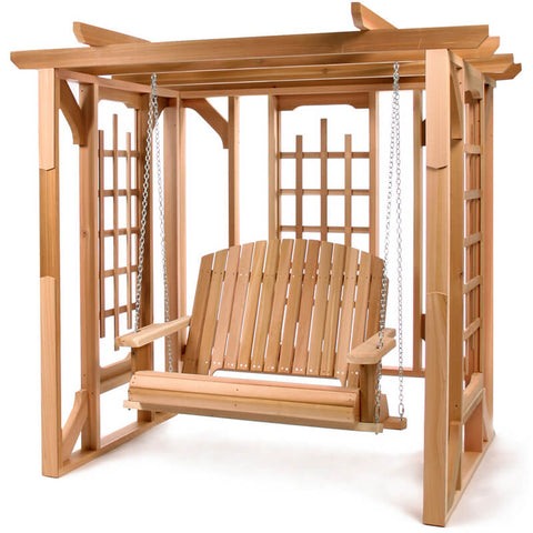 Wooden Pergola Swing Set - Red Cedar - All Things Cedar