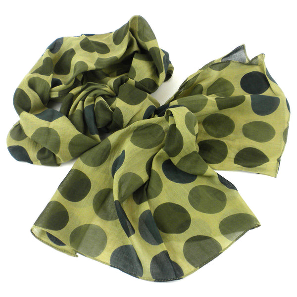 Olive Polka Dots Cotton Scarf Handmade and Fair Trade