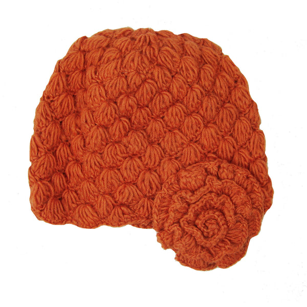 Mollie Cloche Hat w/Flower - Spice Handmade and Fair Trade