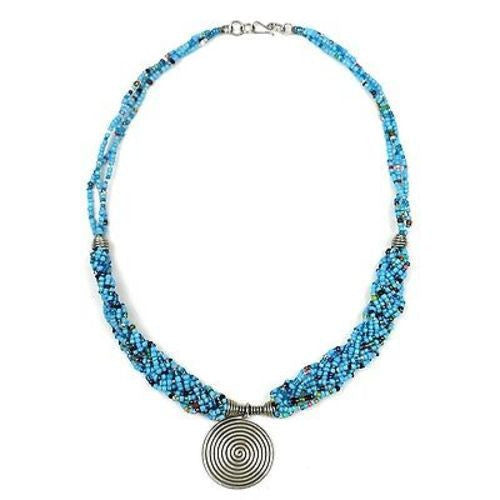 Single Spiral 'Elegance' Braided Blue Bead Necklace Handmade and Fair Trade