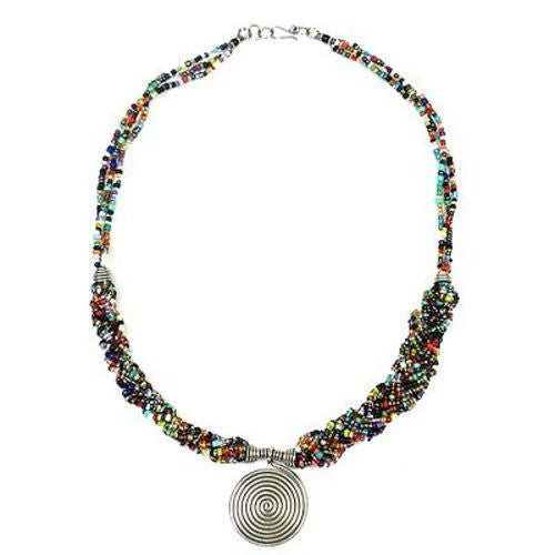 Single Spiral 'Elegance' Braided Multicolor Bead Necklace Handmade and Fair Trade