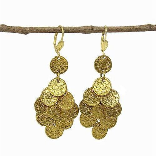 Stamped Disk Chandelier Earrings in Goldtone Handmade and Fair Trade