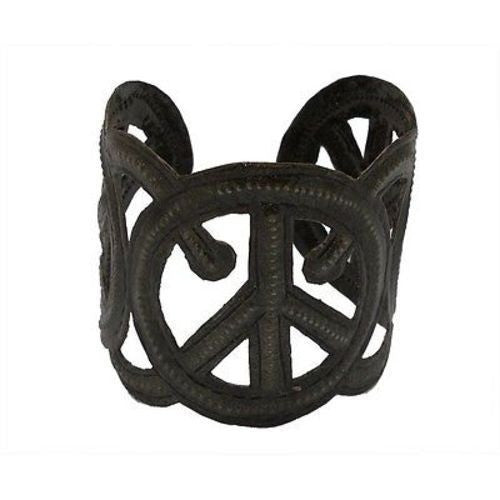 Steel Oil Drum Peace Cuff Handmade and Fair Trade