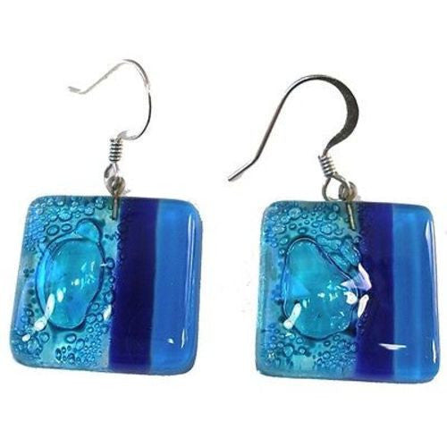 Square Fused Glass Earrings - Blue Bubbles Design Handmade and Fair Trade