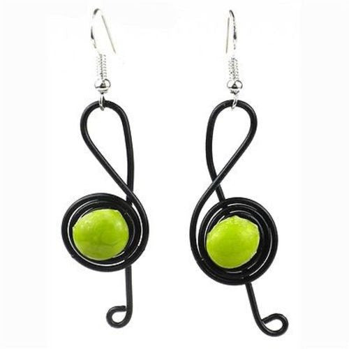 "Enameled Wire and Green Glass Bead ""G-clef"" Earrings Handmade and Fair Trade"
