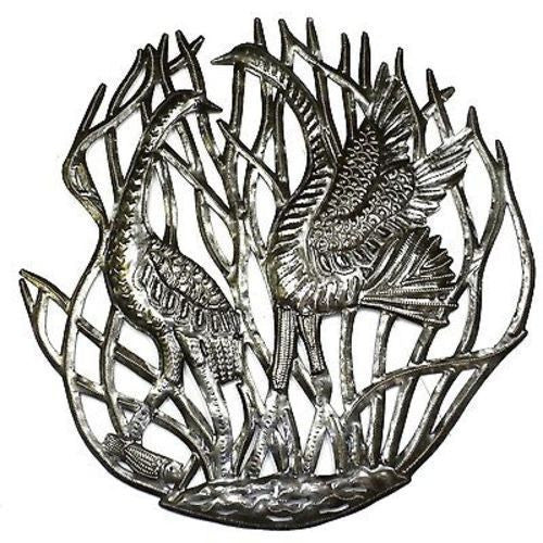 Two Cranes in Reeds Metal Wall Art 24-inch Diameter Handmade and Fair Trade