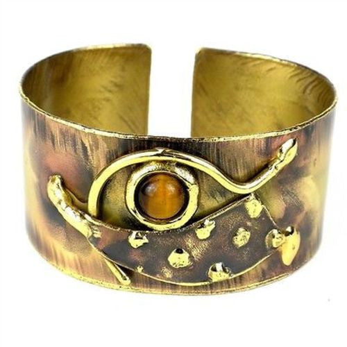 Tucked Tiger Eye Brass Cuff Handmade and Fair Trade