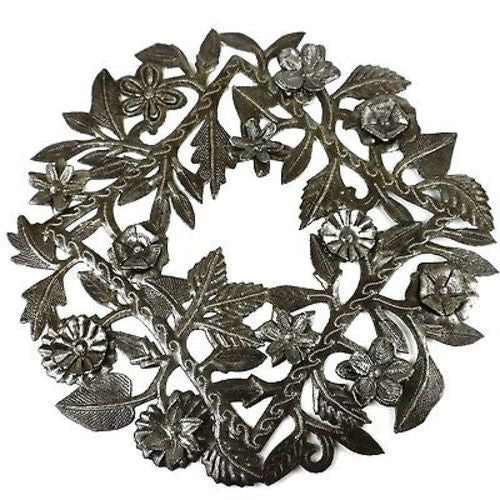 Steel Drum Wreath 15-inch Metal Wall Art Handmade and Fair Trade