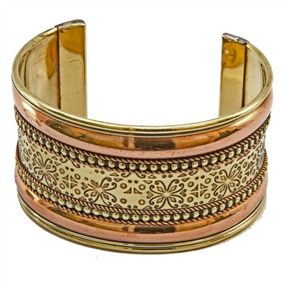 India Metal Cuff Bracelet  Floral Copper and Brass - Adjustable