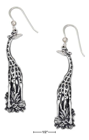 Antiqued Sterling Silver Giraffe Earrings