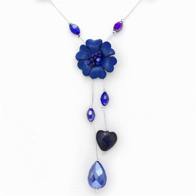 Thai Single Strand Flower Necklace - Lapis