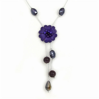 Thai Single Strand Flower Necklace - Amethyst