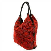 Fair Trade Vietnam Embroidered Purse-Red Swirls