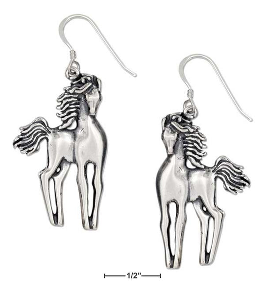 A Slender Contemporary Pair of Horse earrings
