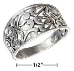 A Tapered Heart Scroll Sterling Silver Ring