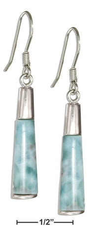 Larimar And  Sterling Silver Flat Cone Earrings