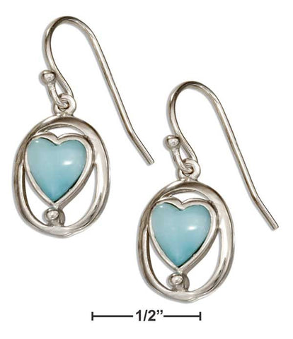 Larimar and Sterling Silver Hearts in Oval
