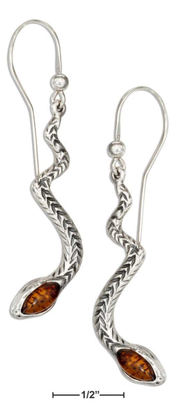 Baltic Amber and Sterling Silver Snake Earrings