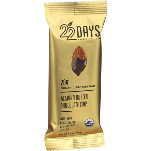22 Days Nutrition Organic Protein Bar - Almond Butter Chocolate Chip - Case Of 12 - 2.6 Oz Bars