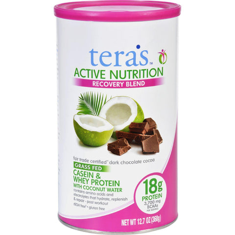 Teras Whey Protein Powder - Casein And Whey - Active Nutrition - Recovery Blend - Fair Trade Certified Dark Chocolate - 12.5 Oz
