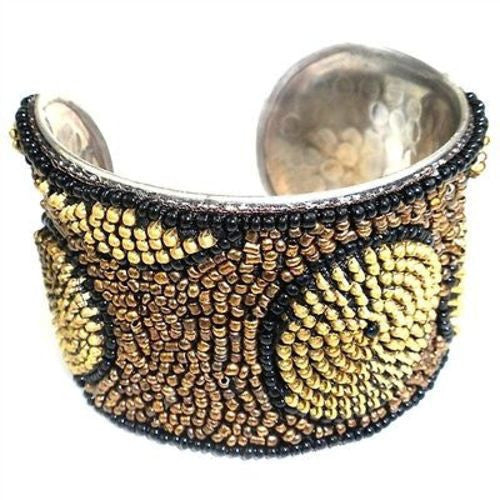 Zipper Beaded Cuff in Gold and Bronze Handmade and Fair Trade