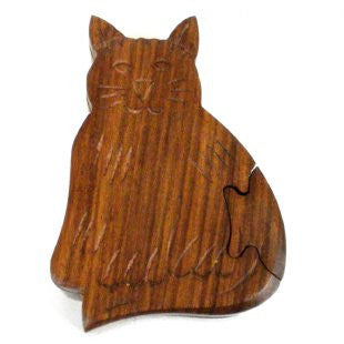 Sheesham Wood Hand Carved Happy Cat Puzzle Box