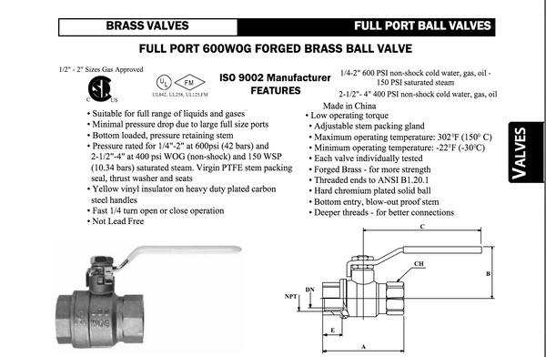 "Female Threaded Brass Ball Valve (Midland) 1.1/2"" P/N: 940177"