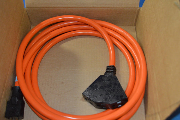 12 Foot Outdoor Extension Cord with 3 Electrical Power Outlets, 15A, 125V, 14AWG NSN: 6150-00-144-0091 P/N: J-C-1270