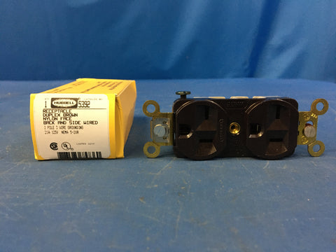 New!!! Hubbell 5392 Duplex Grounding Outlet 3W 20A 125V NSN:5935-00-443-1016
