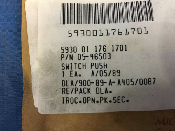 National Security Agency 05-46503 Push Switch 1A 125VAC NSN:5930-01-176-1701