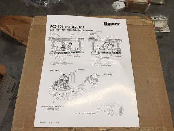 "Hunter 1"" PCZ-101-25 Drip Zone Control PGV Valve Kit w/ 25 PSI Pressure"