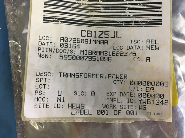 Westinghouse 595R298H01 Power Transformer NSN:5950-00-795-1096