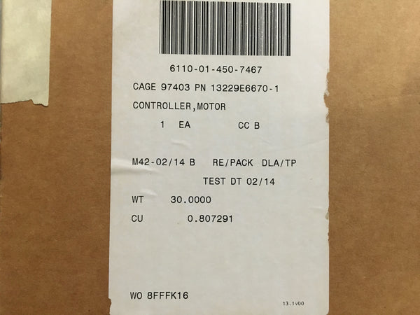 Cecom Motor Controller for AC Unit NSN:6110-01-450-7467 Model:13229E6670-1