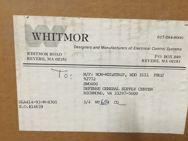 Whitmor Type AQB Panel DWG. NO. 815-1197148 Rev A