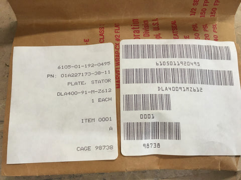Herley Chicago Stator Plate P/N: 01A227173-38-11 NSN: 6105-01-192-0495
