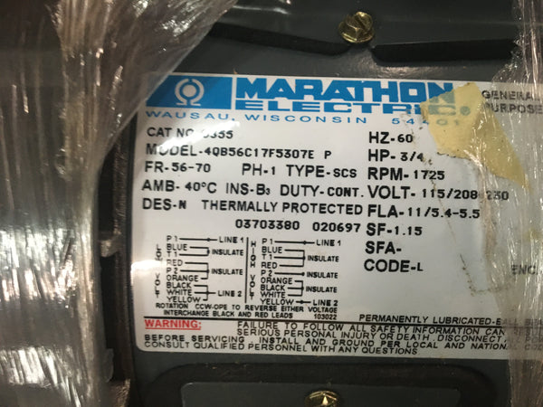 Marathon AC Motor Model:4QB56C17F5307E P,3/4HP,115/208-230,1PH, 1725RPM NSN:6105-01-212-1246