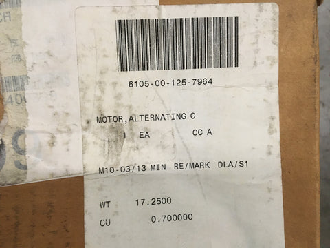 A.O. Smith 316P001 AC Motor, 1/4HP, 115V, 1725RPM, 1PH, NSN:6105-00-125-7964