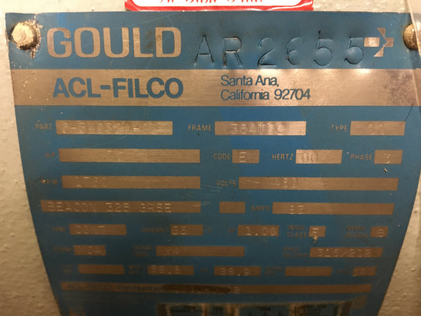 Gould (ACL-Filco) 70HP AC Motor 460v/3phase/60Hz 1800 RPM Model:AR2655 NSN:6105-01-130-2064