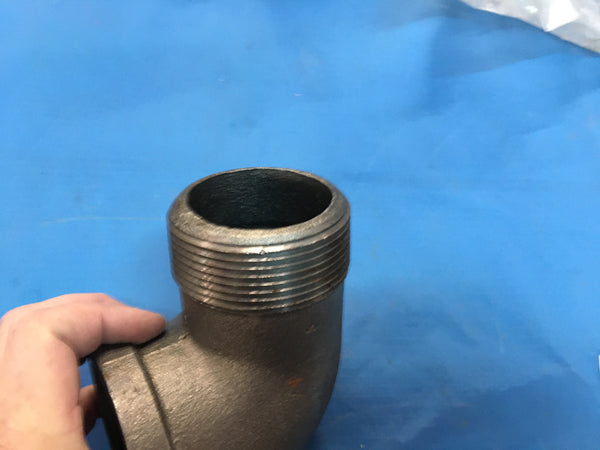 "1-1/2"" NPT, Malleable Iron Black Pipe, 90deg Street Elbow, Lot of 2"