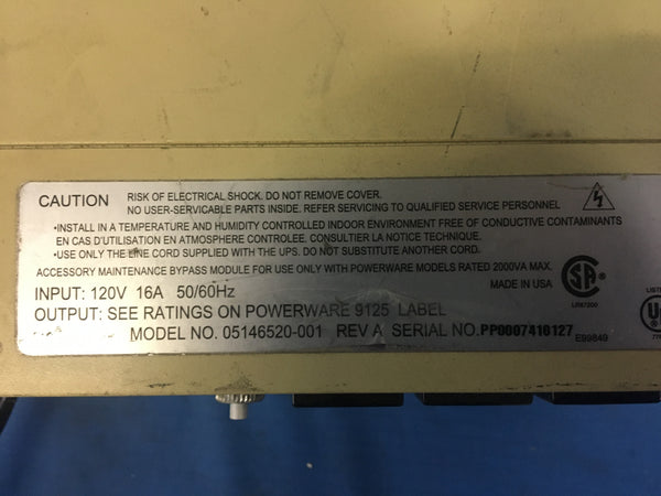 Powerware 9125 Powerpass Distribution Module Model:05146520-001