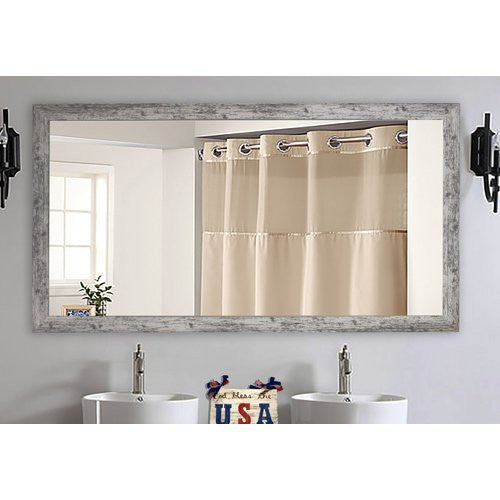 American Made Rayne Weathered White Farmhouse Double Vanity Mirror (DV093) *Suggested Retail*