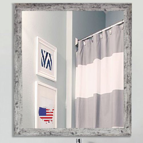 American Made Rayne Weathered White Farmhouse Square Wall Mirror (V093) *Suggested Retail*