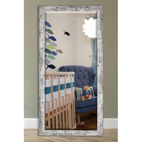 US Made Weathered White Farmhouse Extra Tall Floor Mirror Size 30.5x71 - R093XT ~Suggested Retail~