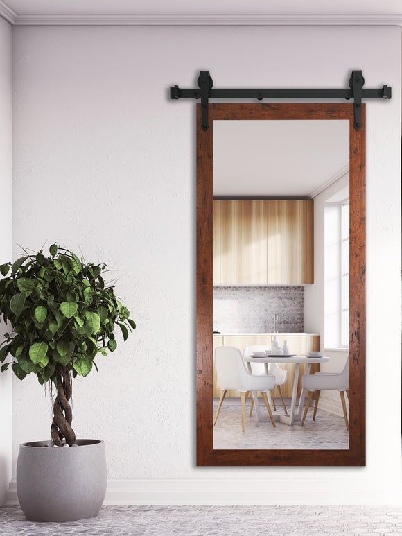 American Made Rayne Rustic Dark Walnut Non-Beveled Wall Mirror with Barn Door Kit (V061CVXT) *Suggested Retail*