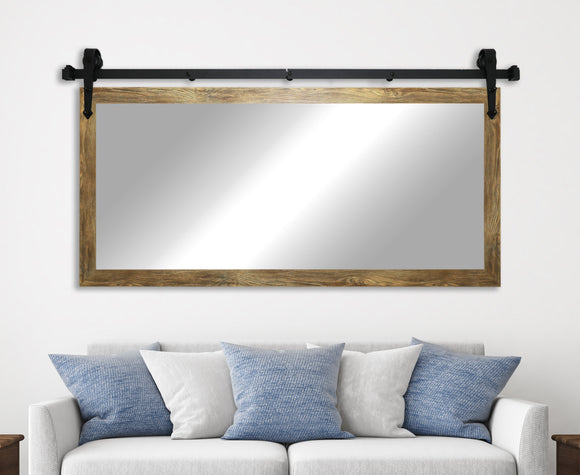 American Made Rayne Barnwood Brown Non-Bevel Wall Mirror with Custom Length Barn Door Kit (DV063) *Suggested Retail*